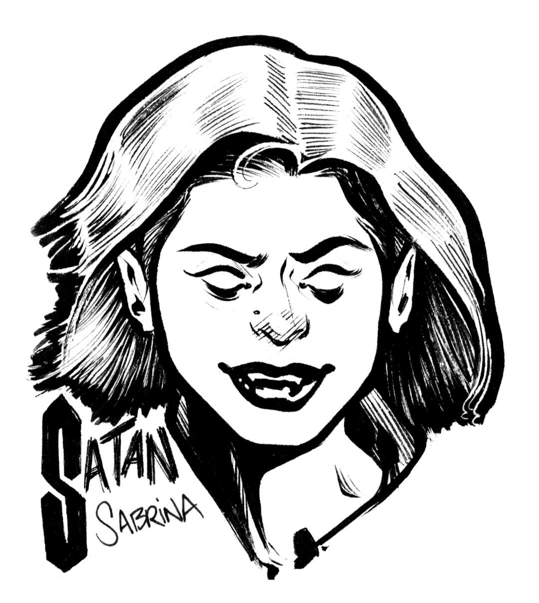 the chilling adventures of Sabrina satan satanic illustration pen and ink